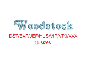 Woodstock embroidery font dst/exp/jef/hus/vip/vp3/xxx 15 sizes small to large
