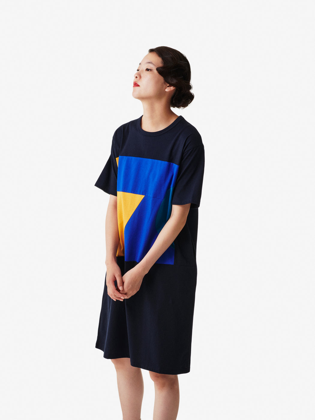 Color Blocks Women's Short Sleeve T-shirt Dress