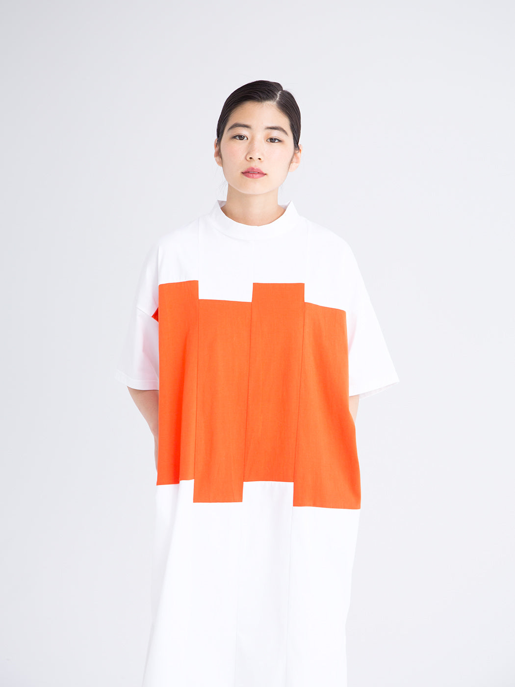 Color Blocks Women's High Neck T-shirt Dress