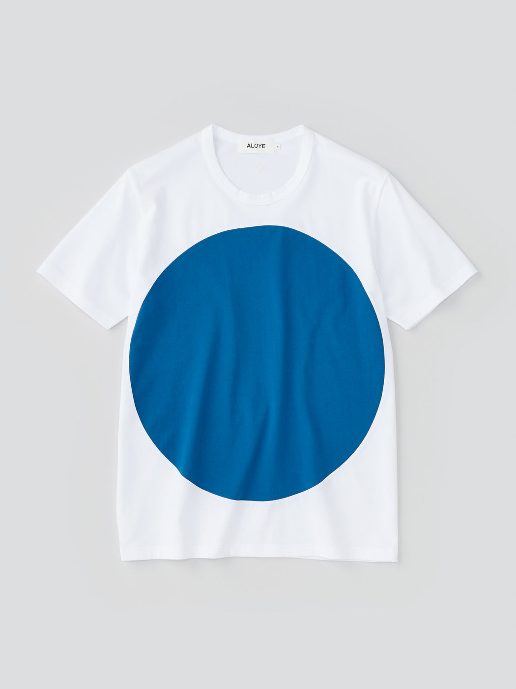 ALOYE Color Blocks Men's Short Sleeve T-shirt White-Blue Circle