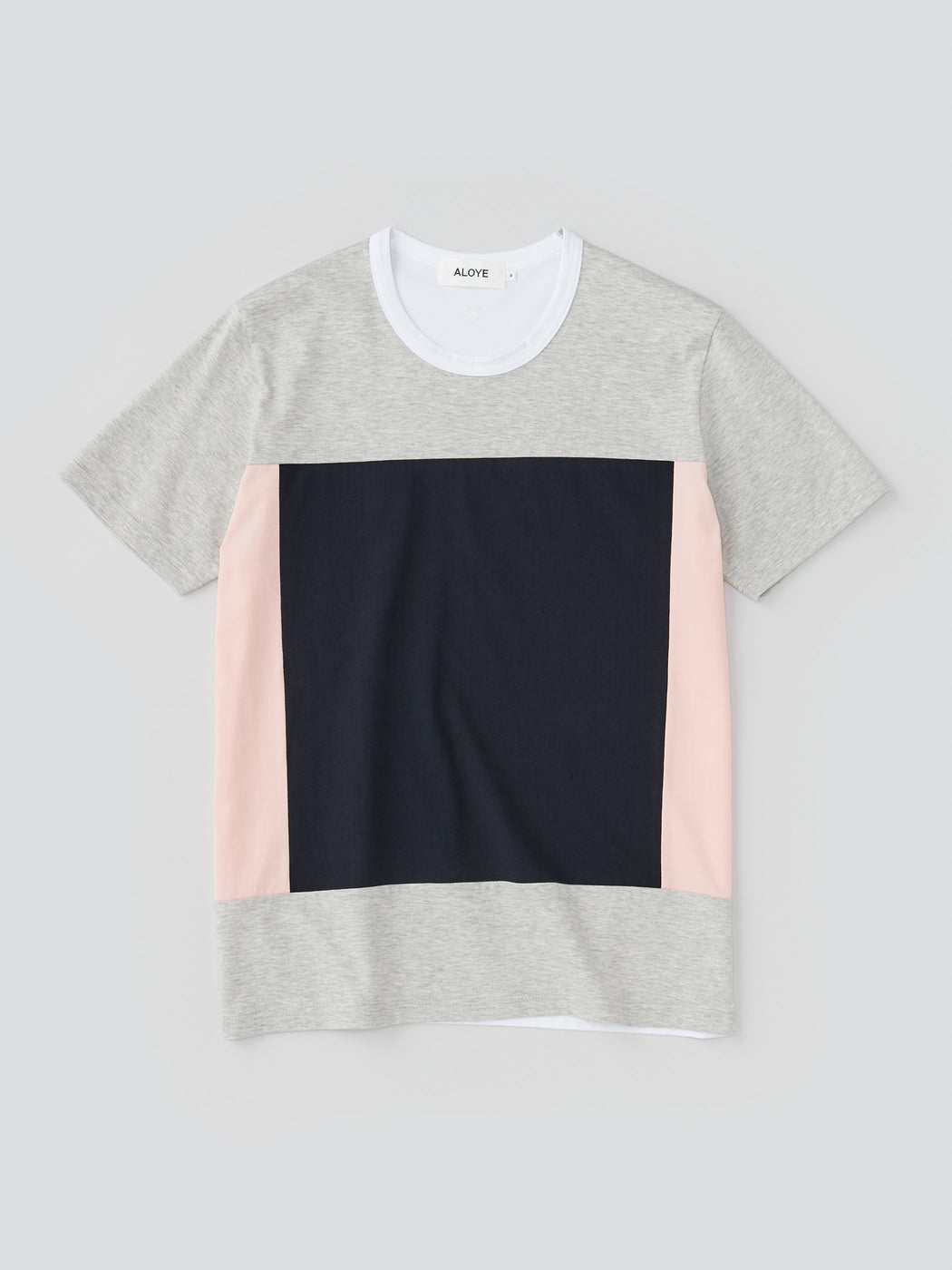 ALOYE Color Blocks Men's Short Sleeve T-shirt Heather Gray-Navy-Pink