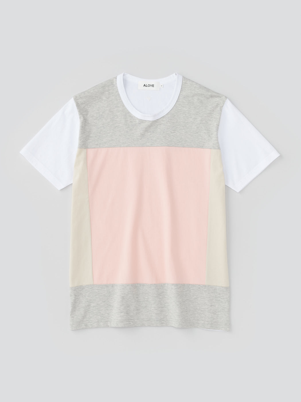 ALOYE Color Blocks Men's Short Sleeve T-shirt Heather Gray-pink-Beige
