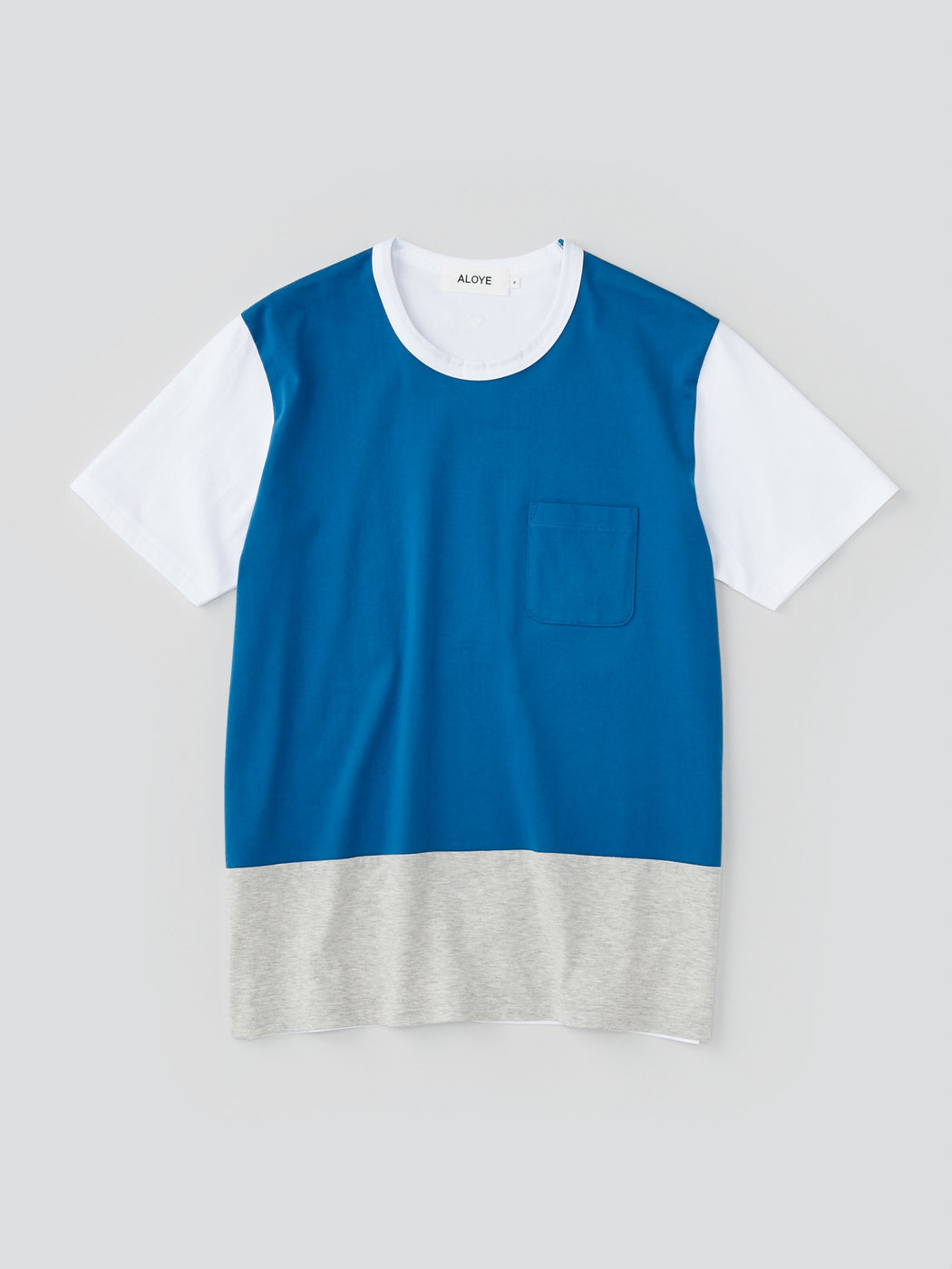 ALOYE Color Blocks Men's Short Sleeve T-shirt Blue-Heather Gray