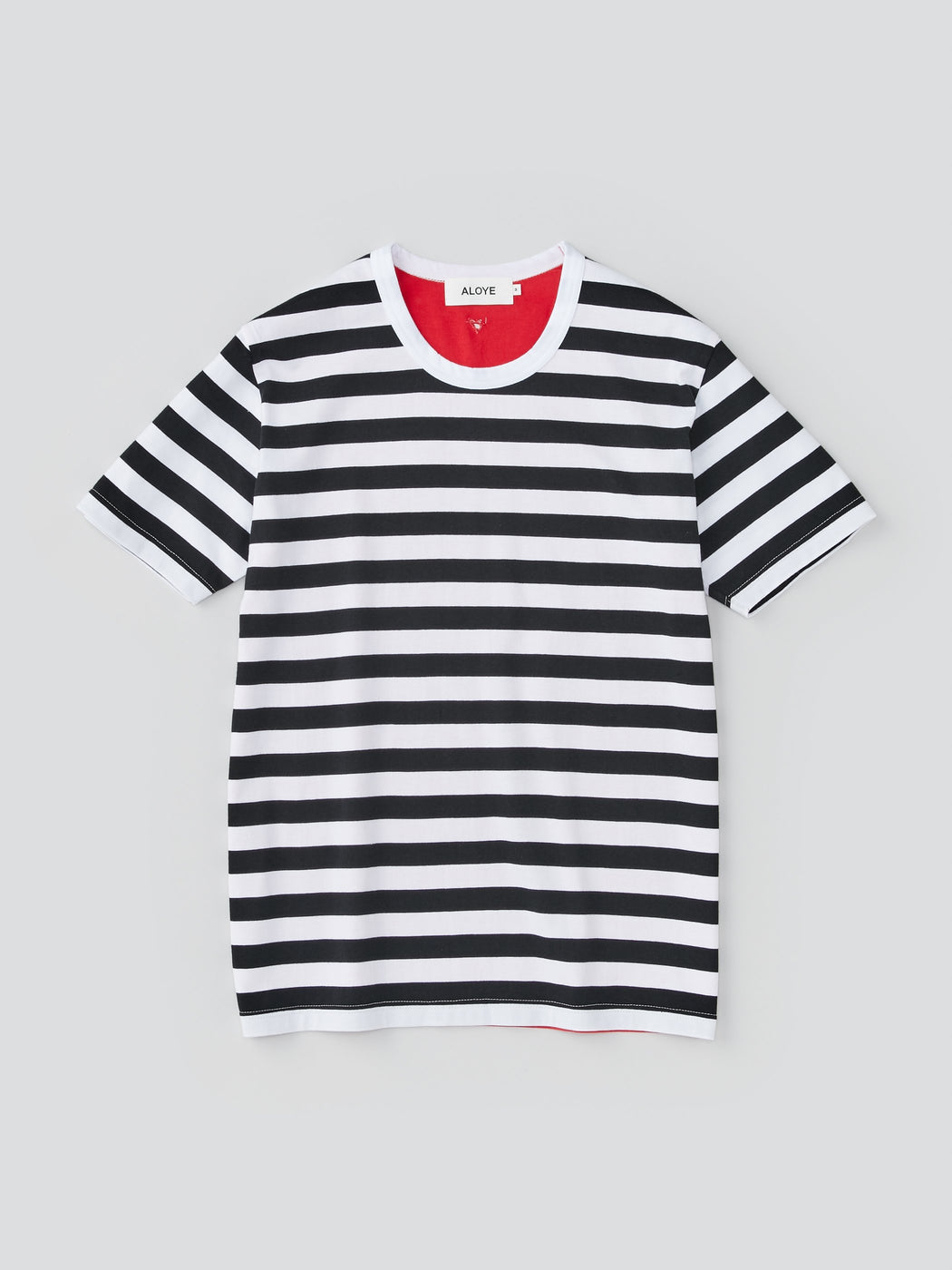 ALOYE Dots & Stripes Men's Short Sleeve T-shirt Black Stripe-Red Back