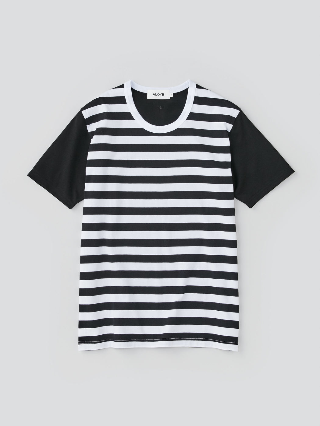 ALOYE Dots & Stripes Men's Short Sleeve T-shirt Black Stripe-Black Sleeve