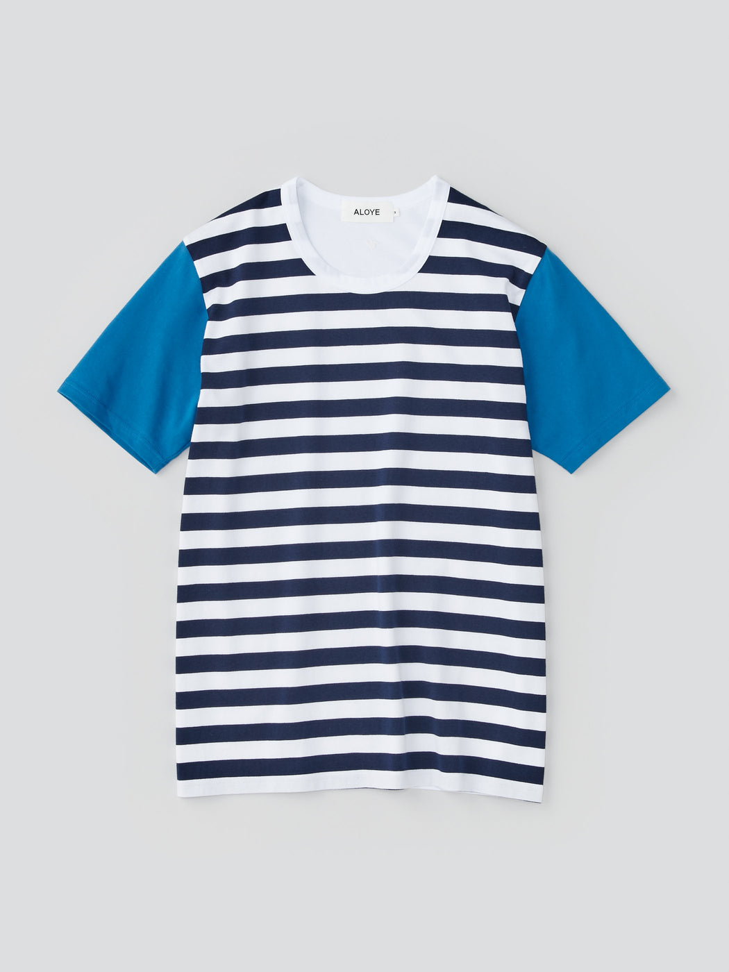 ALOYE Dots & Stripes Men's Short Sleeve T-shirt Navy Stripe-Blue Sleeve