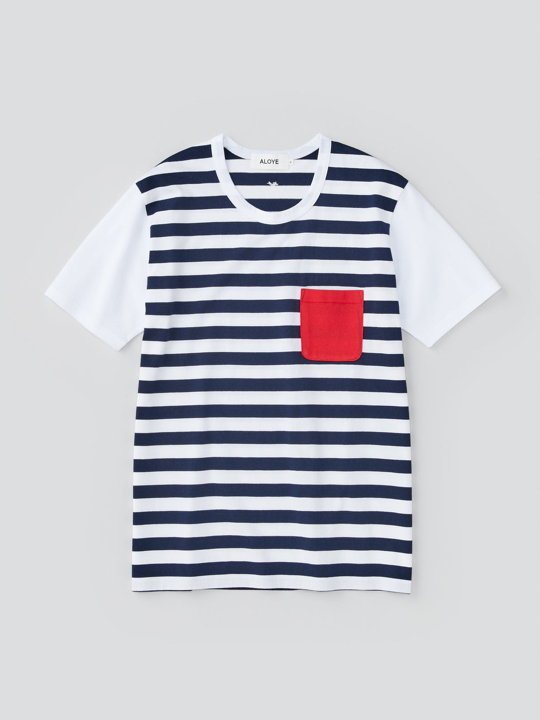 ALOYE Dots & Stripes Men's Short Sleeve T-shirt Navy Stripe-Red Pocket