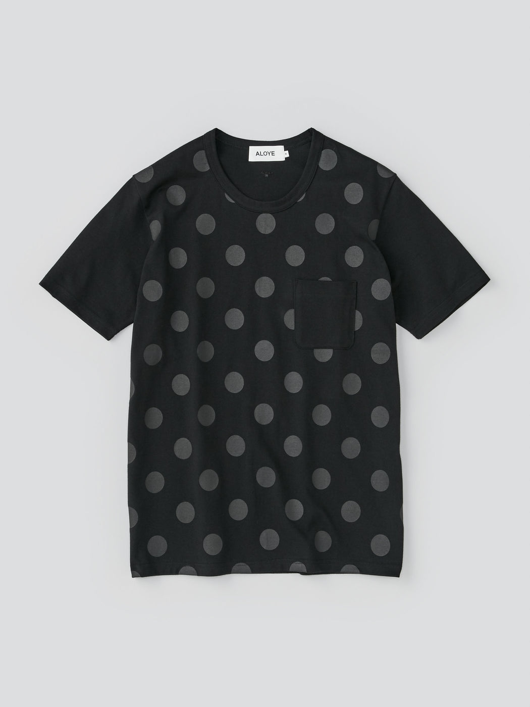 ALOYE Dots & Stripes Men's Short Sleeve T-shirt Black-Black Dot Front