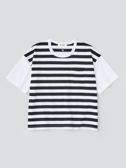 ALOYE Dots & Stripes Women's Short Sleeve Wide T-shirt Black Stripe-White Sleeve