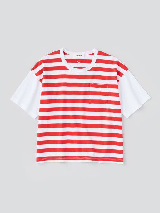ALOYE Dots & Stripes Women's Short Sleeve Wide T-shirt Red Stripe-White Sleeve
