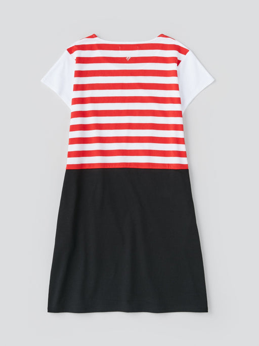ALOYE Dots & Stripes Women's Capped Sleeve One-piece Dress Red Stripe-Black