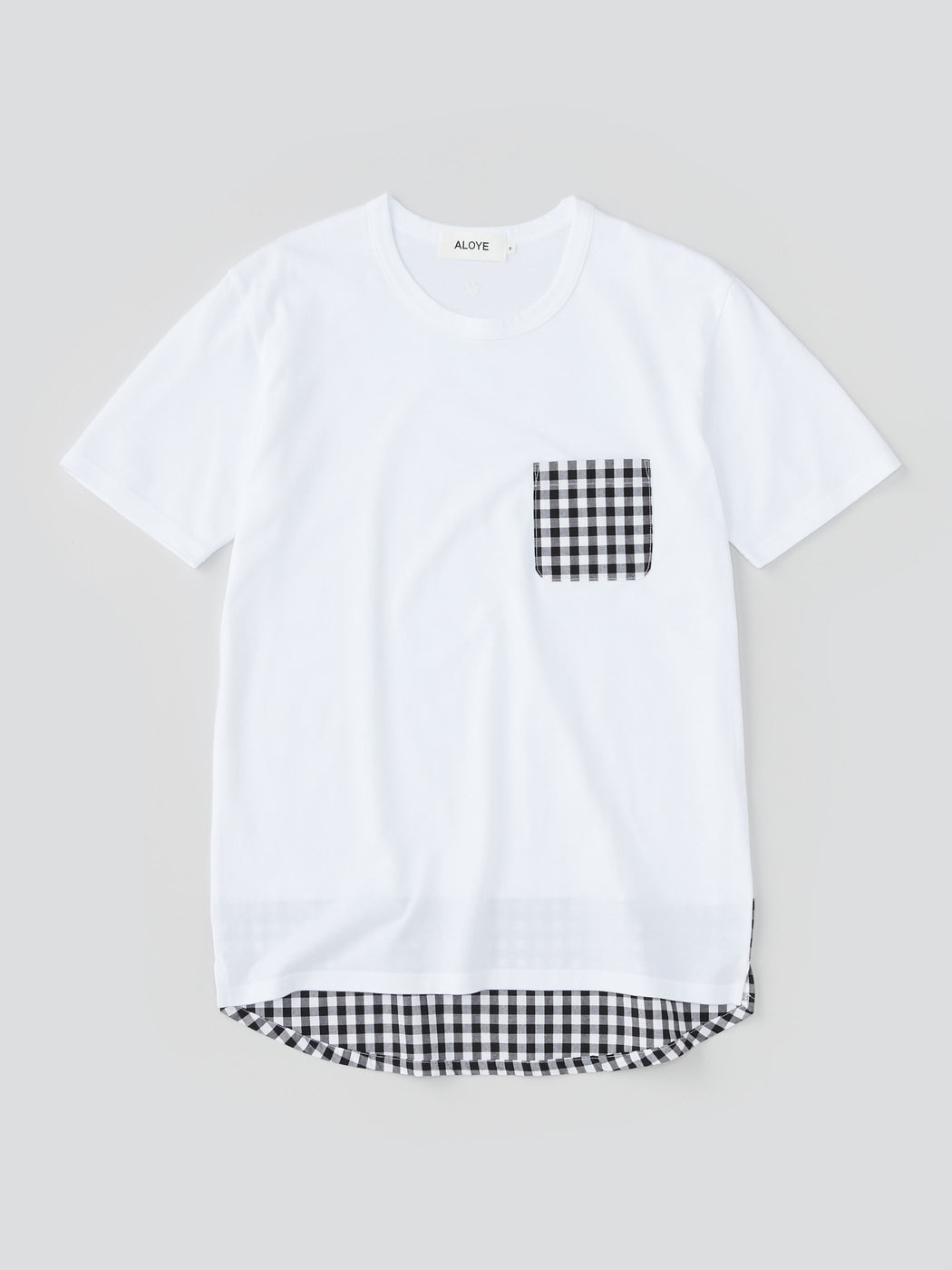ALOYE Shirt Fabrics Men's Short Sleeve T-shirt White-Black Gingham Pocket