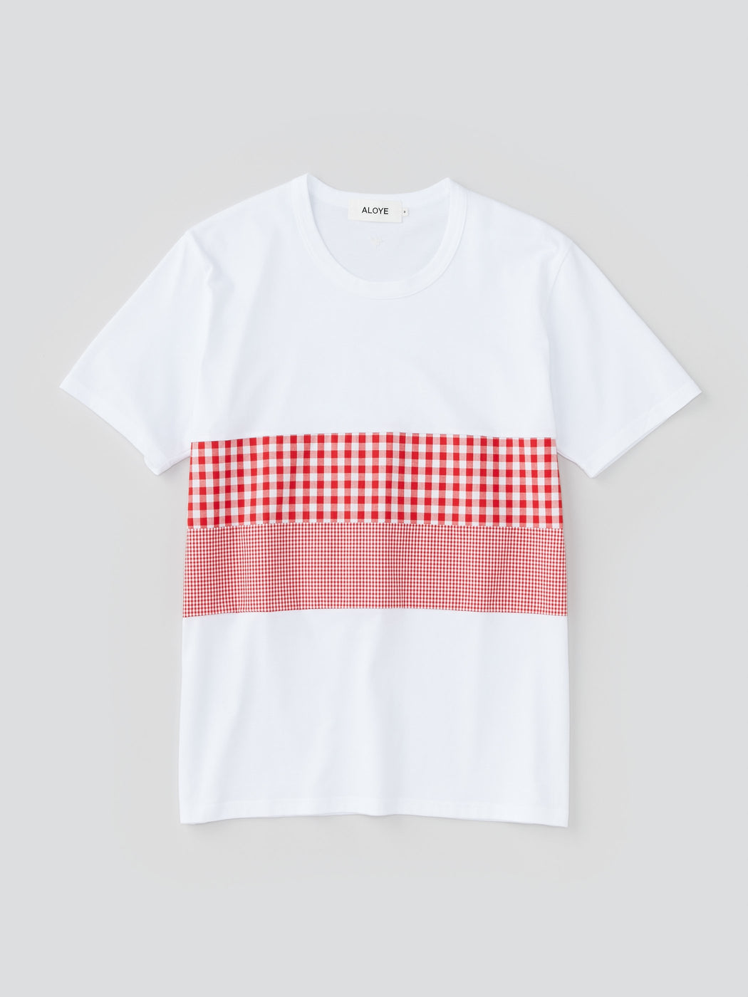 ALOYE Shirt Fabrics Men's Short Sleeve T-shirt White-Red Gingham Split