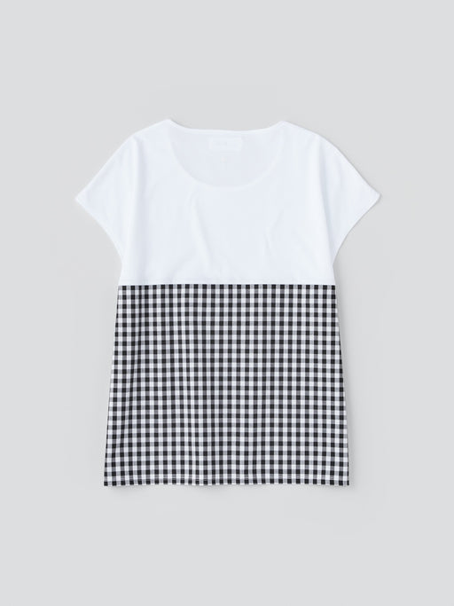 ALOYE Shirt Fabrics Women's Capped Sleeve T-shirt White-Black Gingham