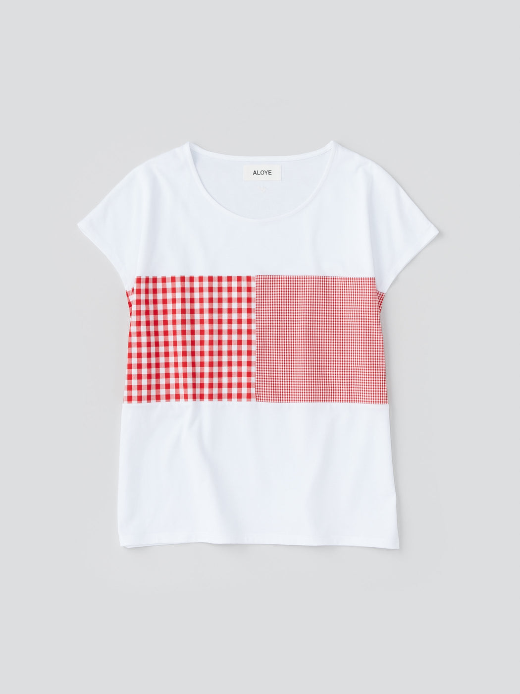 ALOYE Shirt Fabrics Women's Capped Sleeve T-shirt White-Red Gingham