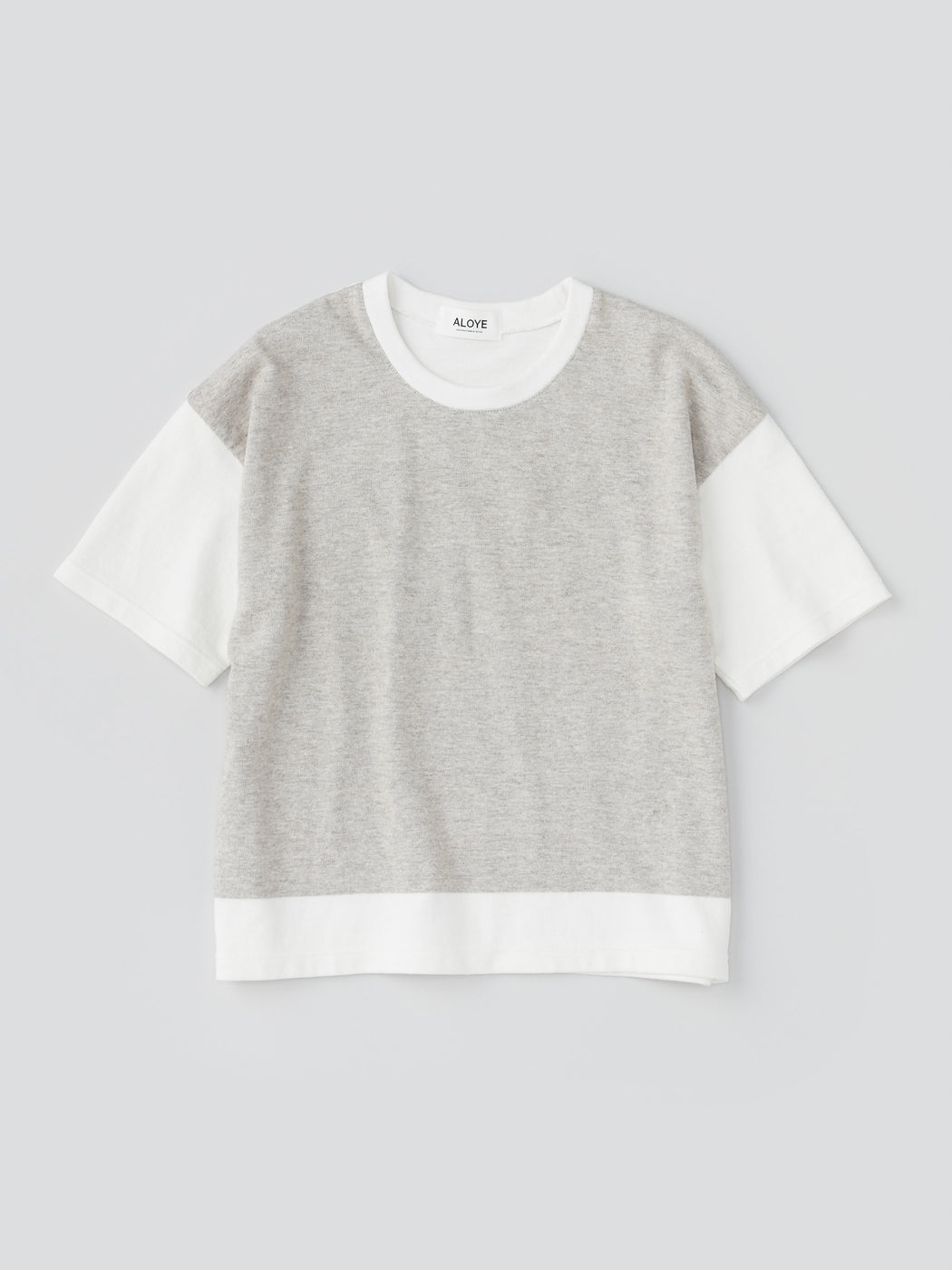 ALOYE G.F.G.S. Women's Cotton Knitted Wide T-shirt Heather Gray-Off White