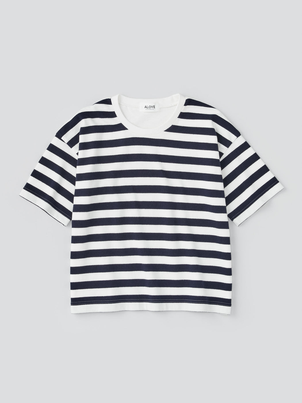 ALOYE G.F.G.S. Women's Cotton Knitted Wide T-shirt Navy Stripe-Off White Back