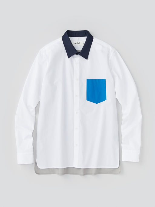 ALOYE Typewriter Cloth Men's Long Sleeve Shirt White-Blue Pocket