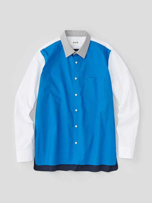 ALOYE Typewriter Cloth Men's Long Sleeve Shirt Blue-White Sleeve