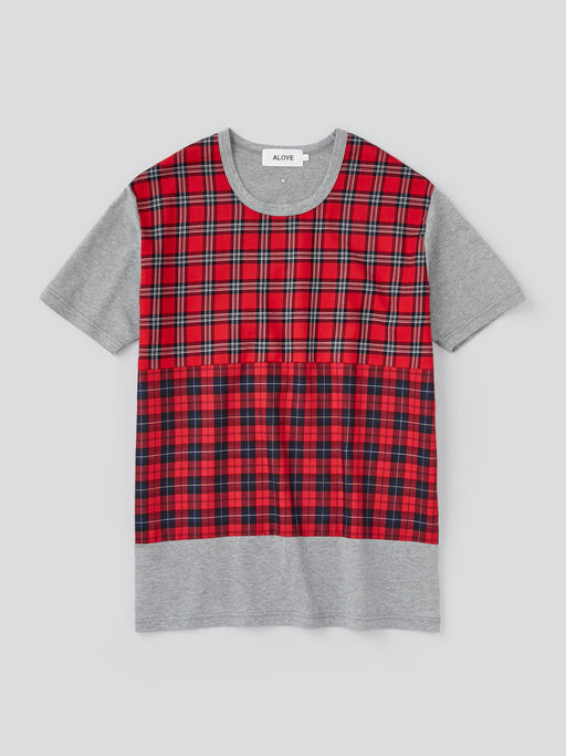 ALOYE Shirt Fabrics Men's Short Sleeve T-shirt Red Tartan Color Block