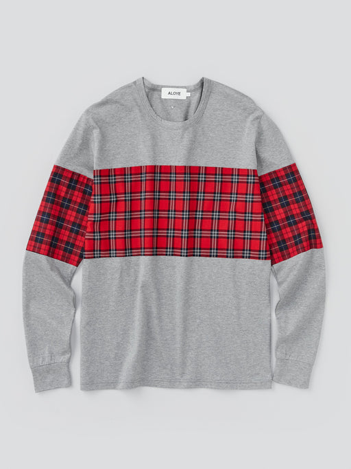 ALOYE Shirt Fabrics Men's Long Sleeve T-shirt Red Tartan Color Block