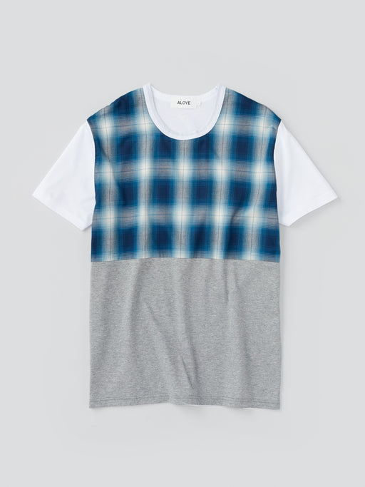 ALOYE Shirt Fabrics Men's Short Sleeve T-shirt Blue Plaid Color Block