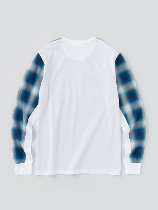 ALOYE Shirt Fabrics Men's Long Sleeve T-shirt Blue Plaid Sleeve