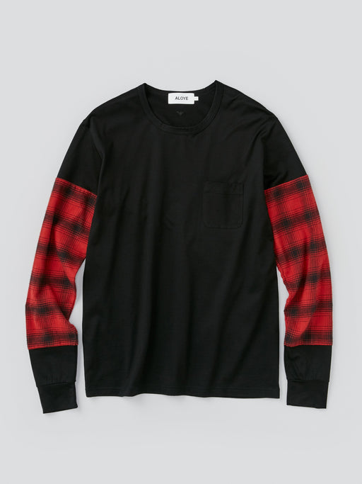 ALOYE Shirt Fabrics Men's Long Sleeve T-shirt Red Black Plaid Sleeve