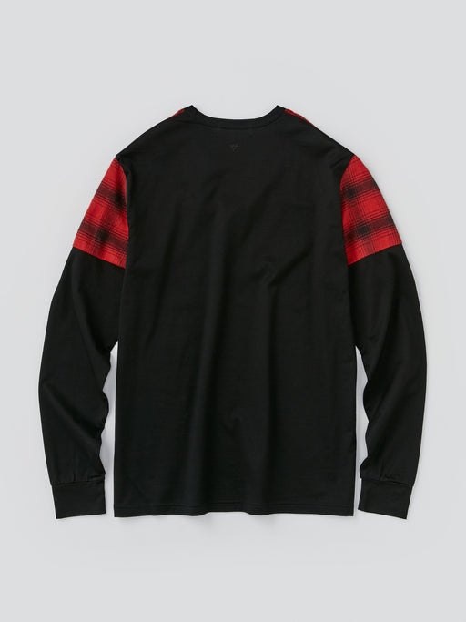 ALOYE Shirt Fabrics Men's Long Sleeve T-shirt Red Black Plaid Color Block