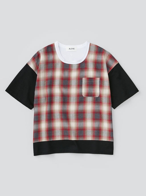 ALOYE Shirt Fabrics Women's Short Sleeve Wide T-shirt Orange Plaid Color Block