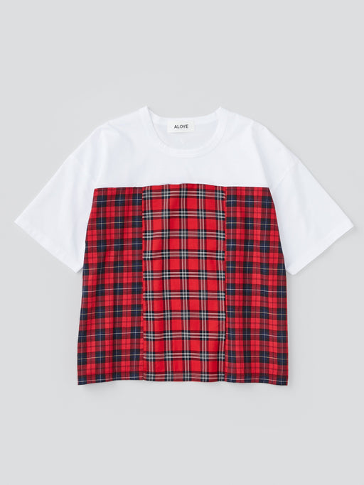 ALOYE Shirt Fabrics Women's Short Sleeve Wide T-shirt Red Tartan Color Block