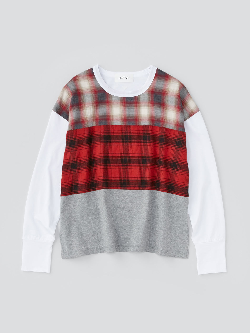 ALOYE Shirt Fabrics Women's Long Sleeve Wide T-shirt Red Tartan Color Block