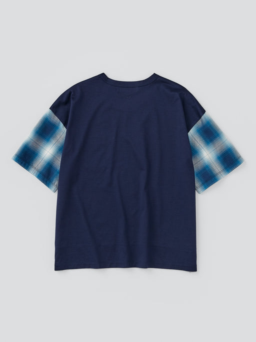ALOYE Shirt Fabrics Women's Short Sleeve Wide T-shirt Blue Plaid Sleeve