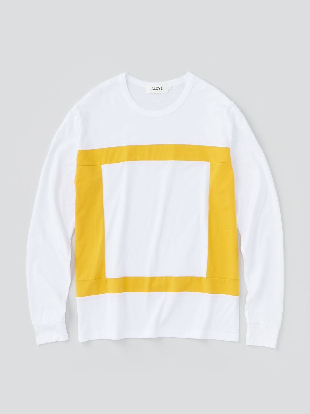 ALOYE Color Blocks Men's Long Sleeve T-shirt White Yellow