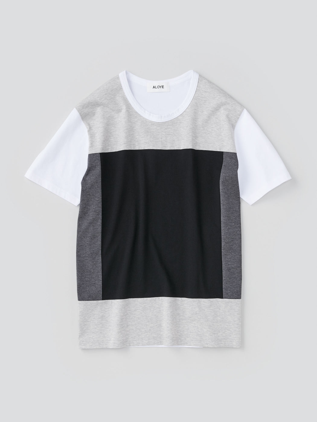 ALOYE Color Blocks Men's Short Sleeve T-shirt Heather Gray and Black