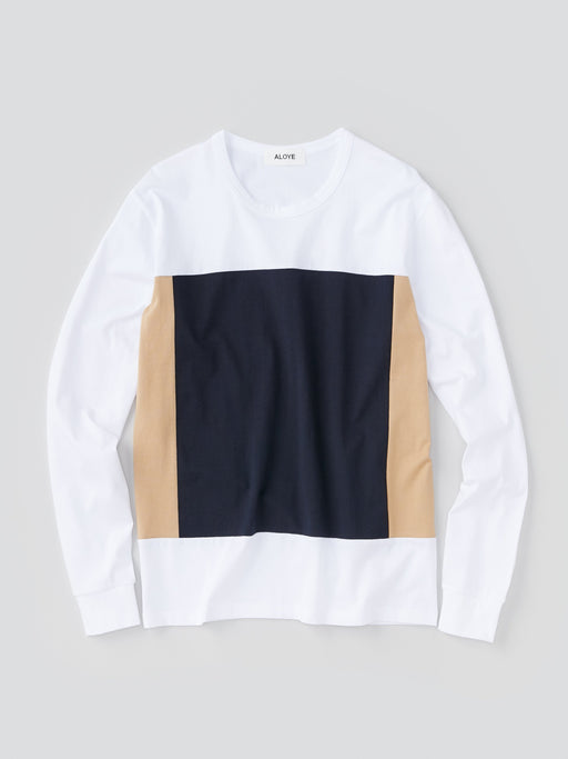ALOYE Color Blocks Men's Long Sleeve T-shirt White and Navy