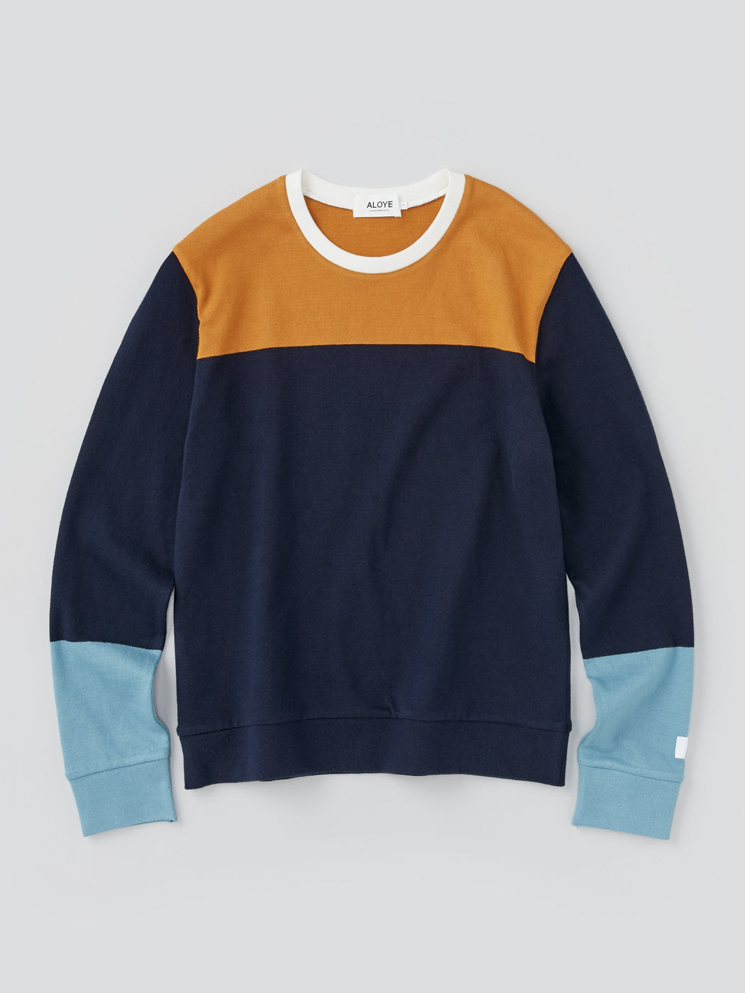 ALOYE G.F.G.S. Men's Cotton Knitted Sweater Navy Color Block