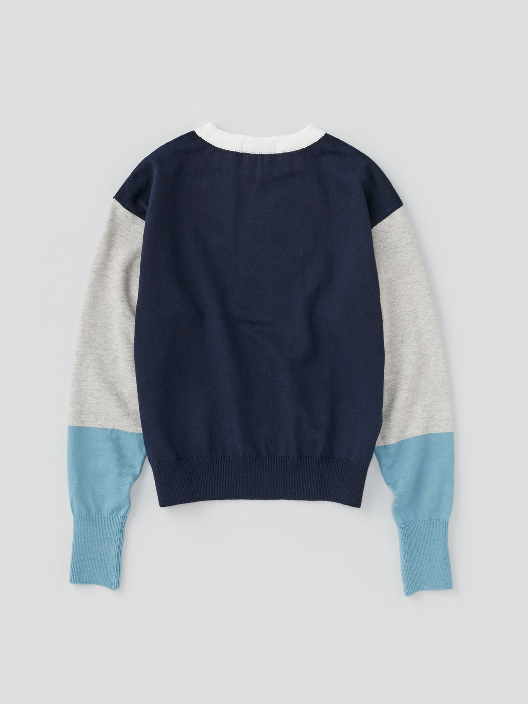 ALOYE G.F.G.S. Women's Cotton Knitted Wide Sweater Navy Color Block
