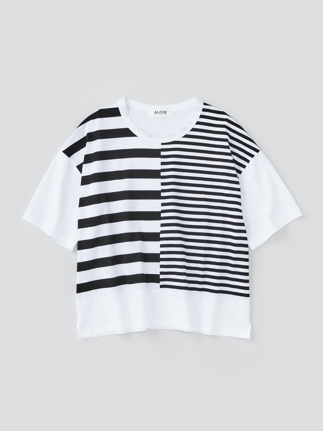 ALOYE Dots & Stripes Women's Short Sleeve Wide T-shirt Split Stripes