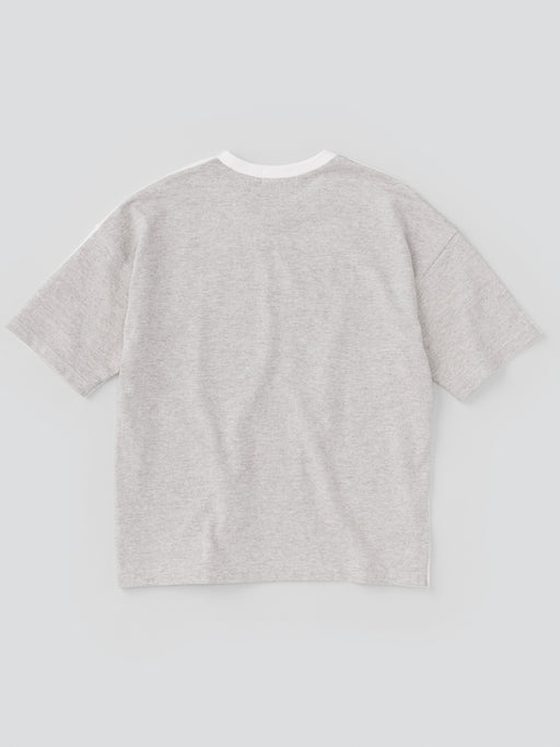 ALOYE G.F.G.S. Men's Cotton Knitted Wide T-shirt Off white-Heather Gray Split