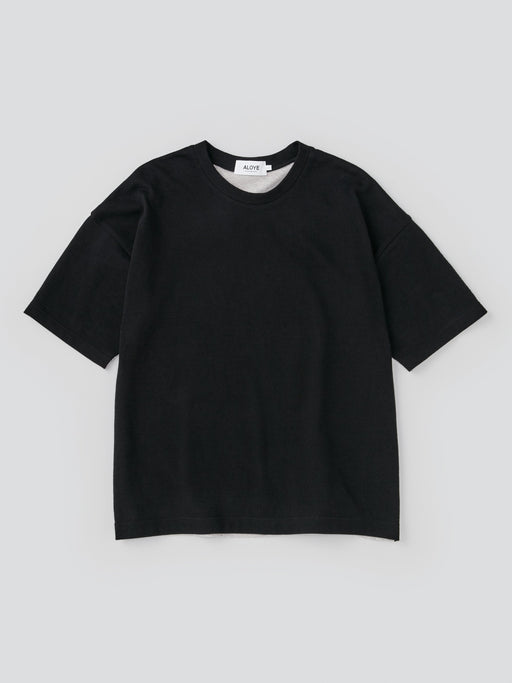 ALOYE G.F.G.S. Men's Cotton Knitted Wide T-shirt Black-Heather Gray Split