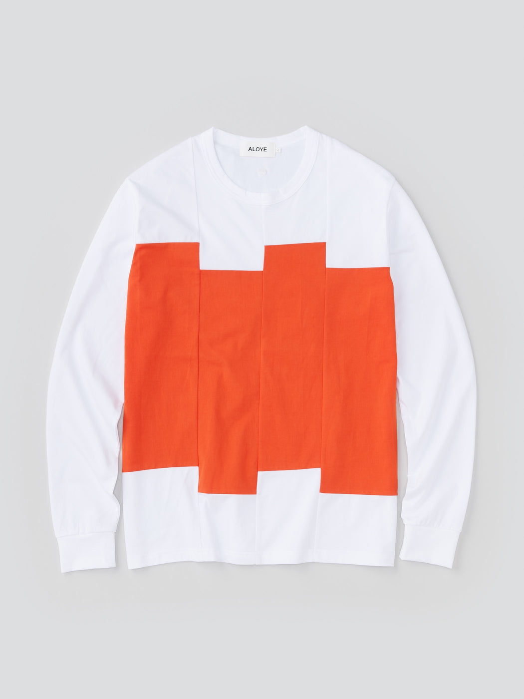 ALOYE Color Blocks Men's Long Sleeve T-shirt White-Orange Rectangles