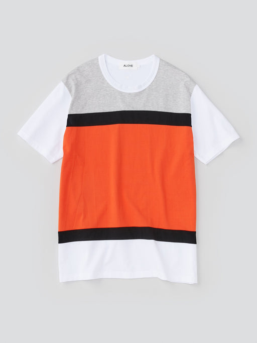 ALOYE Color Blocks Men's Short Sleeve T-shirt Heather Gray-Orange Color block