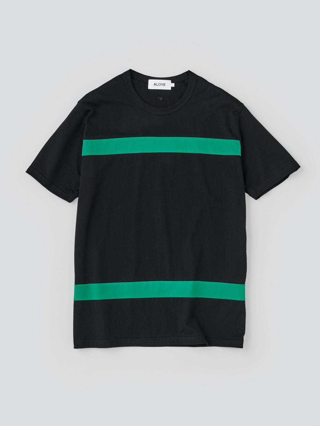 ALOYE Color Blocks Men's Short Sleeve T-shirt Black-Green Color block