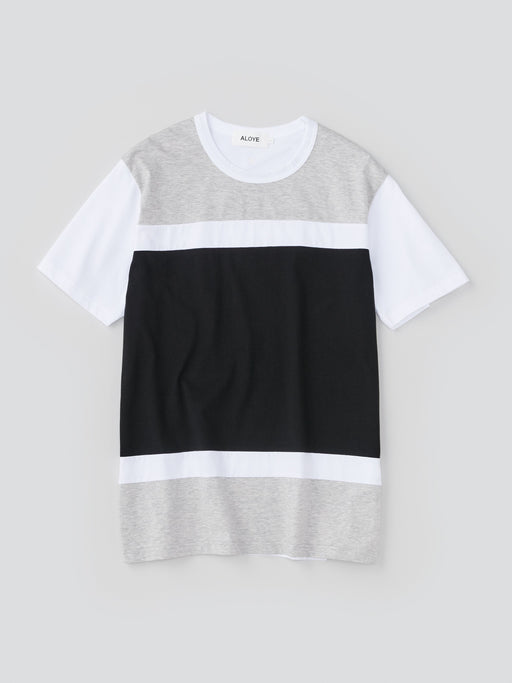 ALOYE Color Blocks Men's Short Sleeve T-shirt Heather Gray-Black Color block