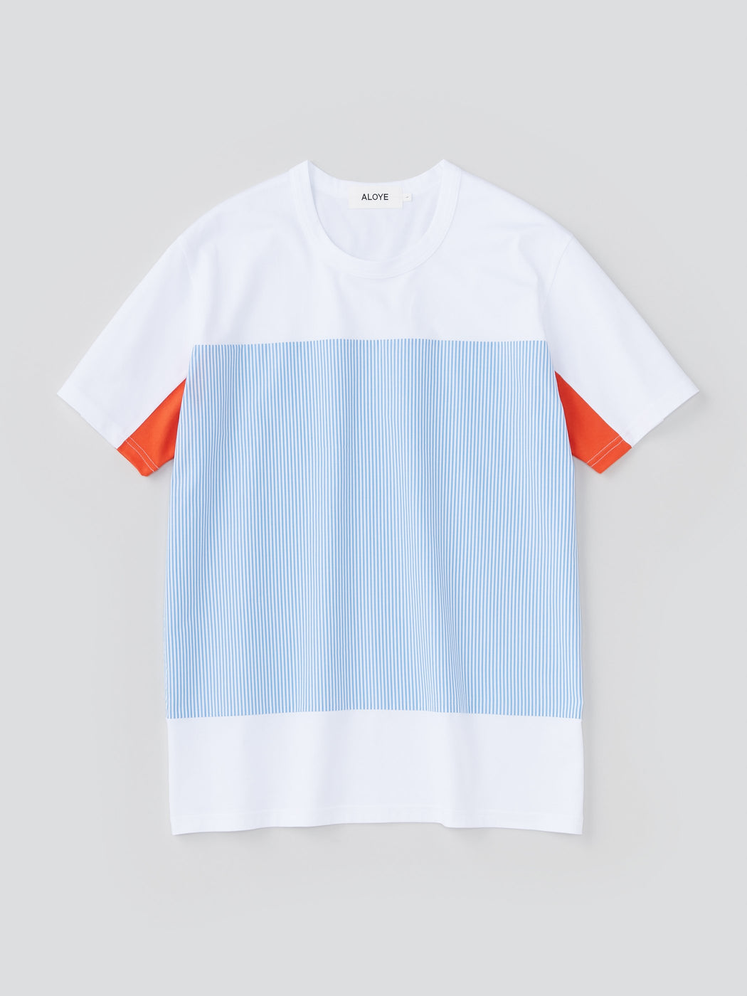 ALOYE Shirt Fabrics Men's Short Sleeve T-shirt Light Blue Stripe-Orange