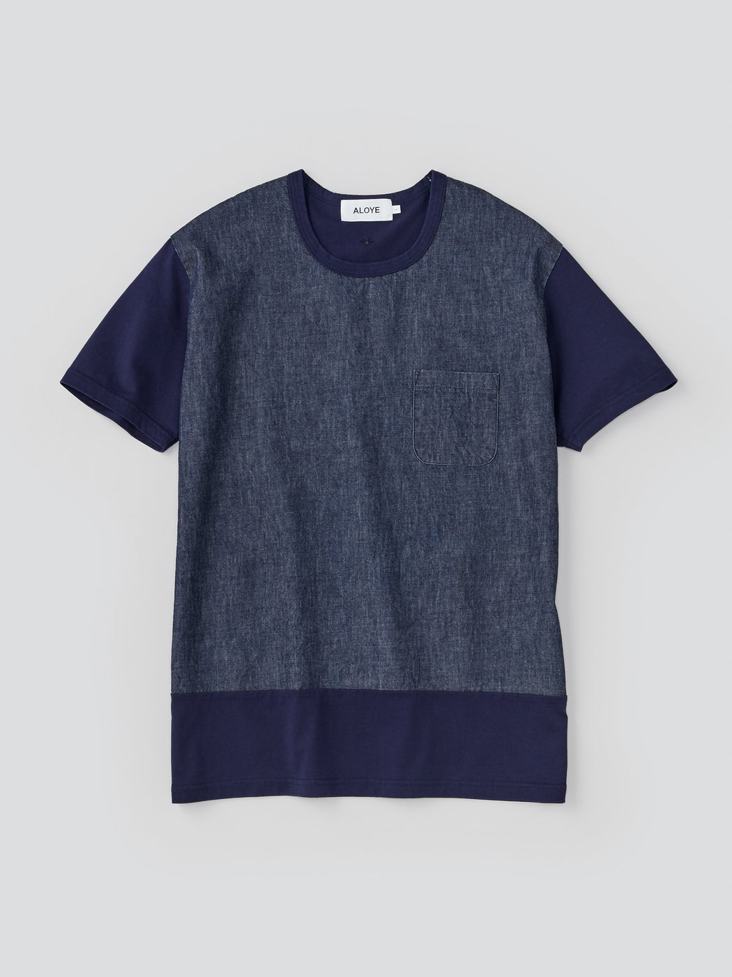 ALOYE Washed Denim Men's Short Sleeve T-shirt Washed Navy Denim