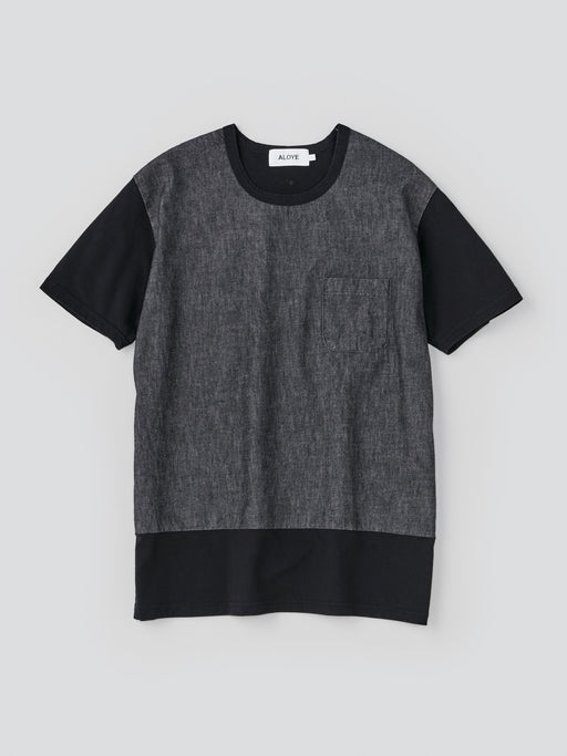 ALOYE Washed Denim Men's Short Sleeve T-shirt Washed Black Denim
