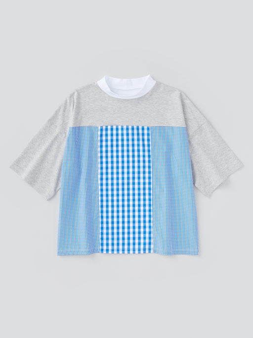 ALOYE Shirt Fabrics Women's High Neck Short Sleeve T-shirt Heather Gray-Blue Gingham