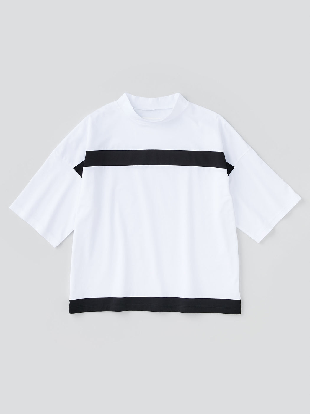 ALOYE Color Blocks Women's High Neck Short Sleeve T-shirt White-Black